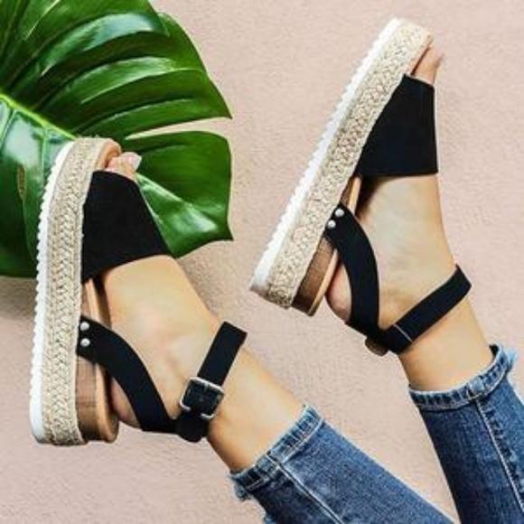 Faux Leather Espadrille Sandals